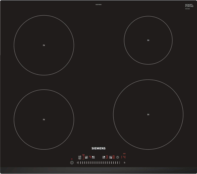 Siemens iQ100 EU631FEB1E hobs Negro Integrado Con Negro, Integrado, Con placa de inducci/ón, Cer/ámico, 1400 W, 14,5 cm Placa