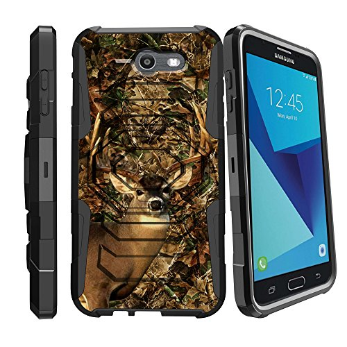 MINITURTLE Case Compatible w/ Samsung Perx Holster Case| Galaxy J7 V Case| Samsung Sky Pro Case [Armor Reloaded] Holster + Rugged Impact Resistant + Stand Deer Hunting Camo