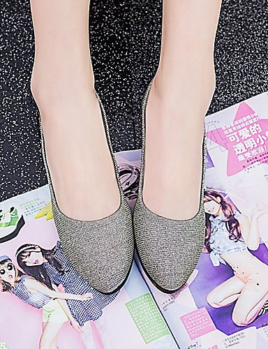 negro sintético talón uk6 oficina carrera eu39 púrpura mujer casual de purple zapatos plano cuero us8 y PDX cn39 plata oro vestido 7Bq1SS