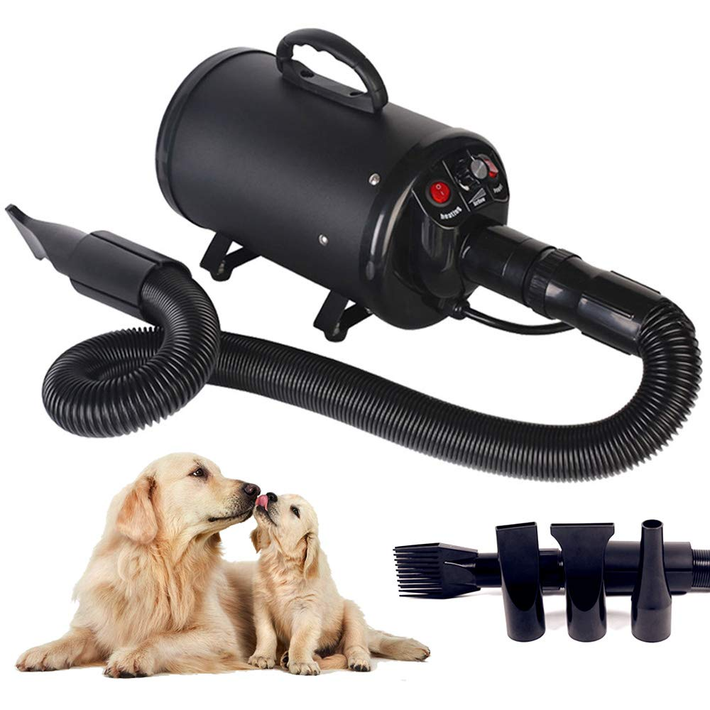 Scurrty Dog Hair Dryer Pet Grooming Blower Noise Reduction Adjustable Speed 3.2HP with Heater 4 Nozzles Black
