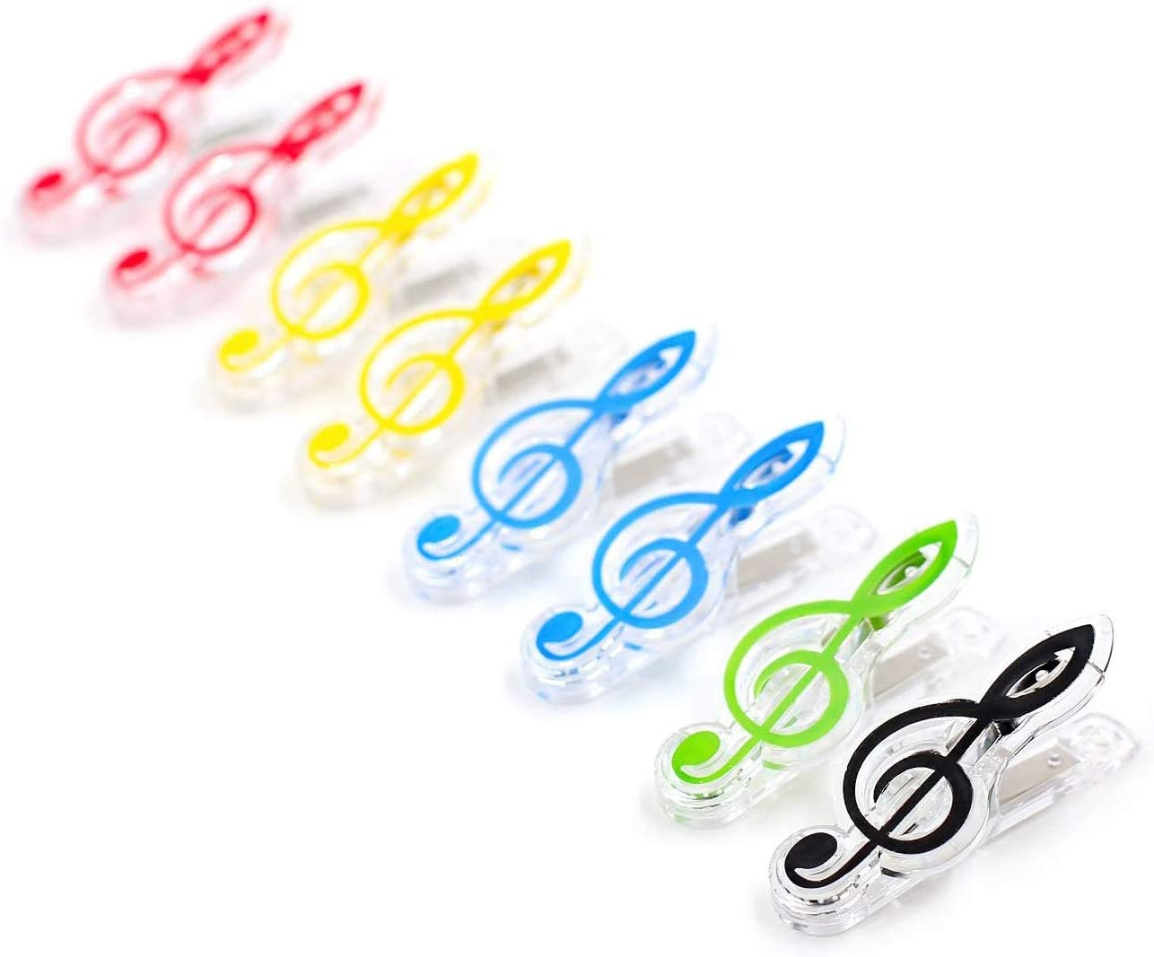 8pcs Musical Note Clips Piano Book Page Clips Holder Assorted Color