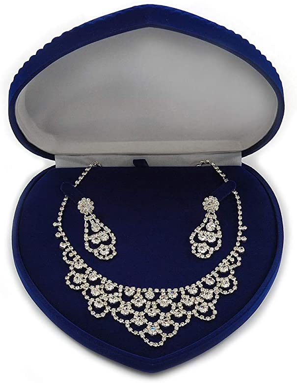 Lujo Terciopelo Azul Conjunto de joyas/collar/broche/colgante ...