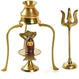 Odishabazaar Narmadeshwar Shiva Ling / Shivling With Brass Trishul Jalahari Yoni and Trishul