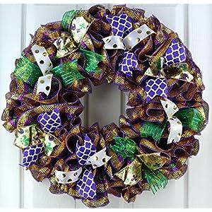 Mardi Gras Wreath | Fat Tuesday Mesh Front Door Wreath | Purple Emerald Green Gold 62