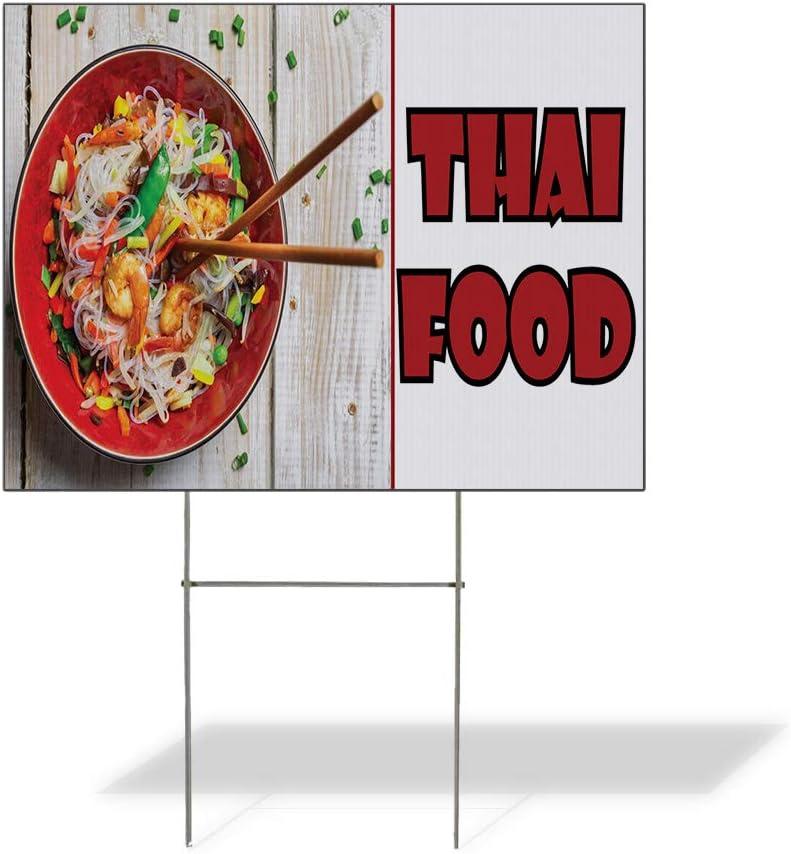 Fastasticdeals Weatherproof Yard Sign Thai Food Restaurant Cafe Bar E White Lawn Garden Bistros & CAF S 18x12 Inches 2 Sides Print