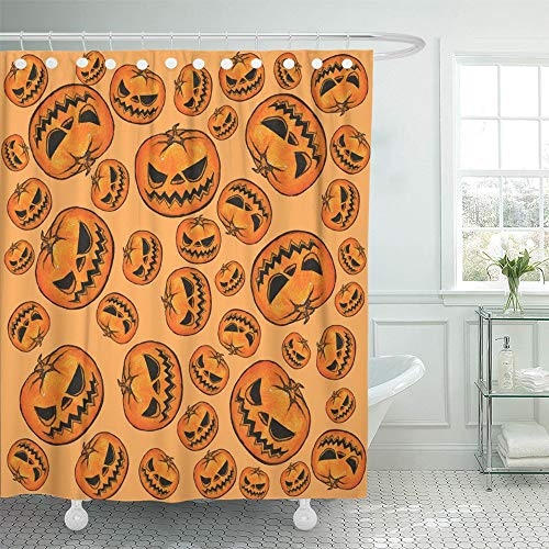 Emvency Shower Curtain Set Waterproof Adjustable Polyester Fabric Orange Abstract Halloween Pumpkins Pattern Yellow Bat Black Cartoon Carving 72 x 72 Inches Set with Hooks for Bathroom