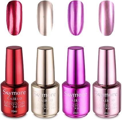 Skymore 4Pcs Set de Esmaltes de Uñas, Efecto Espejo, Color ...