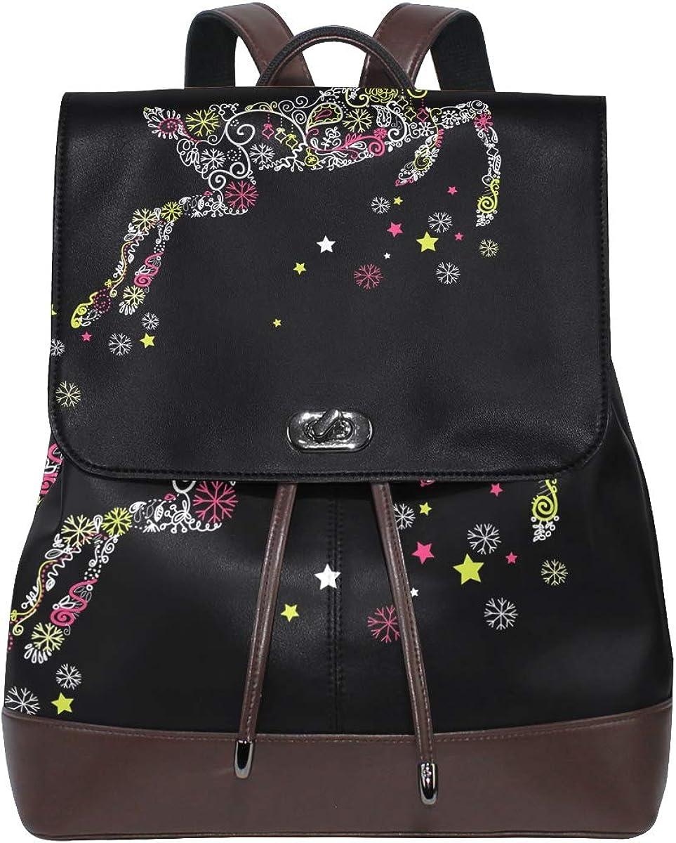 KEAKIA Women PU Leather Christmas Reindeer Backpack Purse Travel School Shoulder Bag Casual Daypack