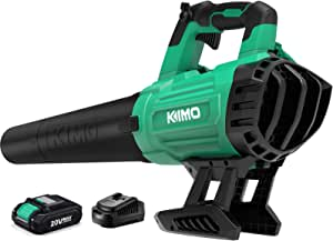 Cordless Leaf Blower - KIMO 400CFM Battery-Powered Blower for Blowing Wet Leaves, Snow Debris and Dust, 20V Electric Leaf Blower with Battery and Charger for Garden, Yard, Work Around The House