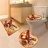 3 Piece Anti-slip mat set Vintage magnifying glass Non Slip Bathroom Rugs