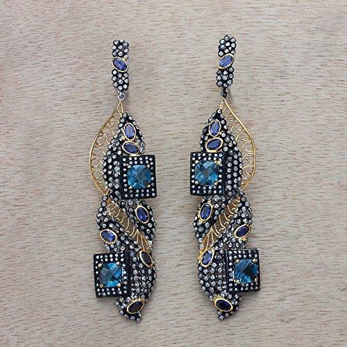 Natural Diamond Pave Iolite Topaz Gemstone Designer Dangle Earrings Sterling Silver Handmade Jewelry
