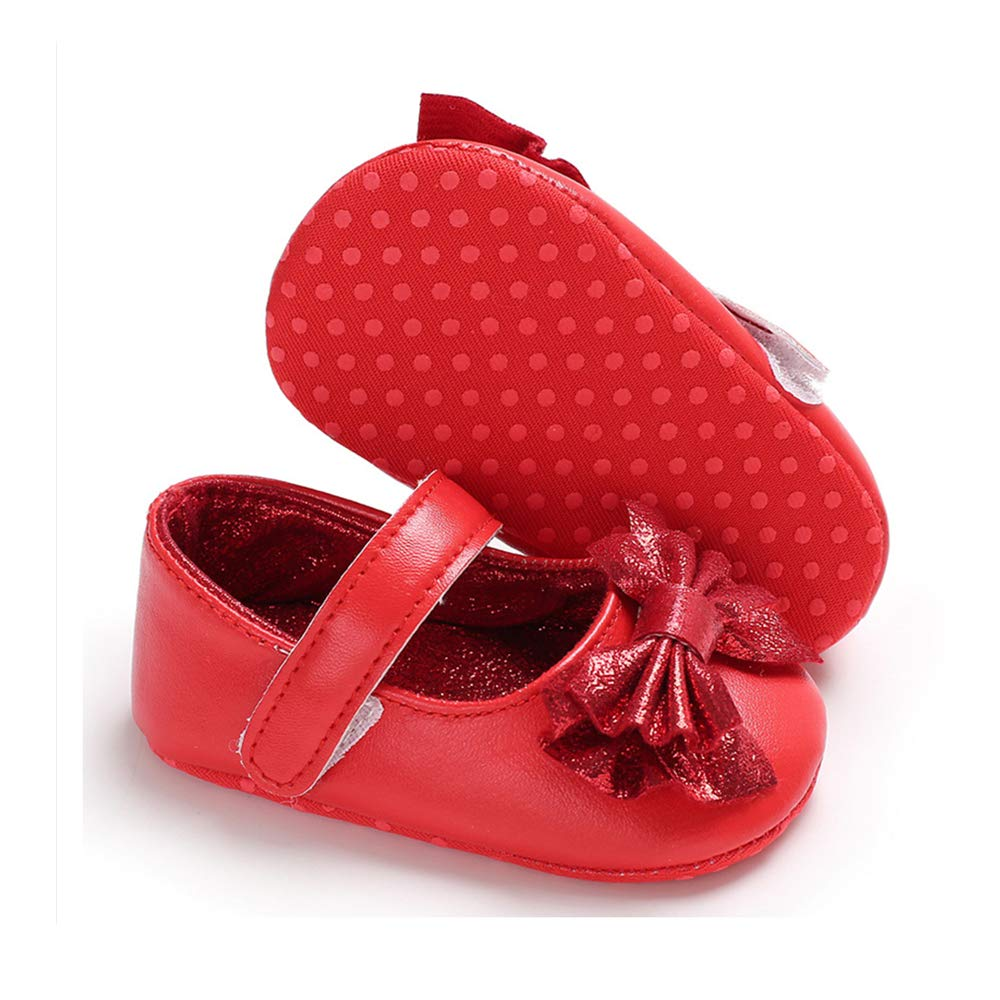 Baby Girls Mary Jane Flats Sparkly Princess Dress Shoes Soft Sole Non-Slip Toddler First Walkers