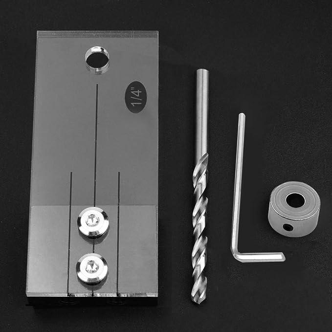 Gu/ía de perforaci/ón de clavija de 1//4Herramienta de trabajo de carpinter/ía para taladradora de broca de orificio de orificio de bolsillo recto