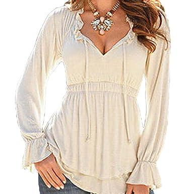 a261976d066e Elegant Womens Chiffon Blouses Tunic - Fashion Ladies Long Sleeve Chiffon  Blouse with V-Neck Tops T-Shirt Casual Shirt  Amazon.co.uk  Clothing
