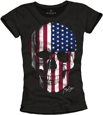 MAKAYA Camiseta Bandera Americana Mujer - Calavera Estados Unidos: Amazon.es: Ropa y accesorios