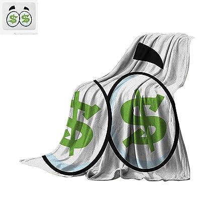ebb0a62df13311 Amazon.com  Eye Throw Blanket Green Dollar Signs in Big Cartoon Eyes ...