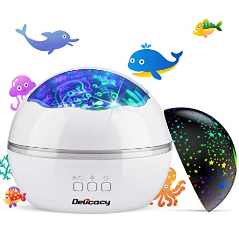 Luz de Proyector, Delicacy 2 in 1 Lámpara proyector estrellas & Lámpara de Océano Proyector 8 modos romántica luz de la noche, perfecto regalo para ...