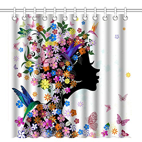 Wknoon 72 x 72 Inch Shower Curtain,Abstract Fantasy Floral Girl Art(Colorful Flowers Butterflies and Hummingbirds),Waterproof Polyester Fabric Decorative Bathroom Bath Curtains