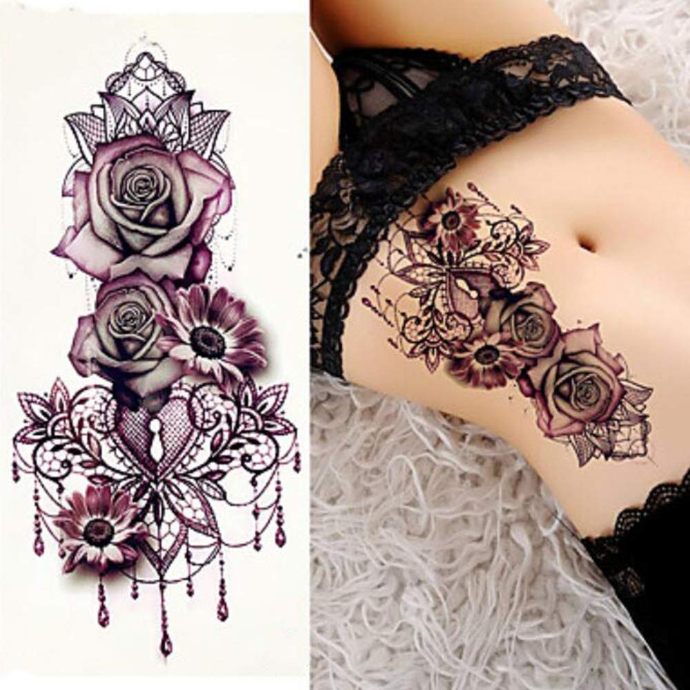 3 piezas estilo de tatuajes tatuajes temporales brazo hombro flor ...