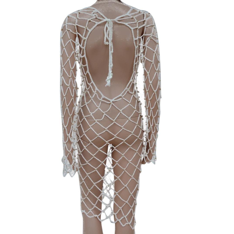 HLHN Damen Boho Schulterfreie Weben Quaste Einzigartig Bikini Cover Up Sommerkleid Strandkleid Lang