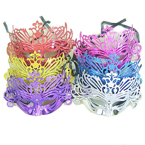 [Venetian Costume Party Mask Masquerade Plastic Metallic Halloween Masks-Assorted color] (Halloween Costumes With Mask)