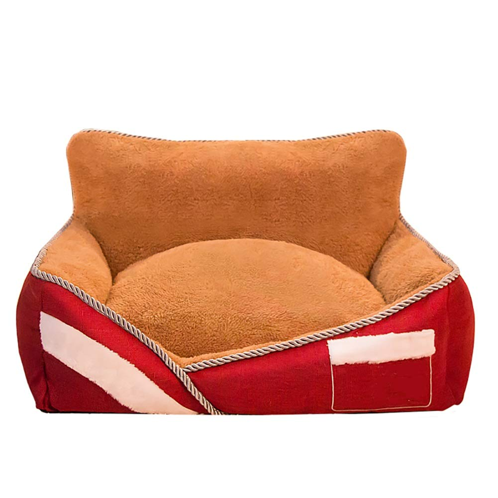 42×60×26cm ZXL Dog Bed Orthopedic Pet Bed, Warmth Soft Memory PP Cotton, Offers Head Neck Joint Support (Size   42×60×26cm)