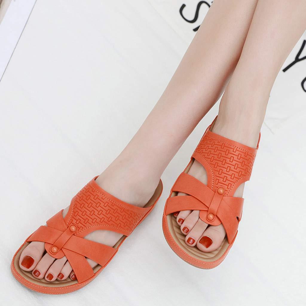 Flip Flops Sandals for Women Oceanside,FAPIZI Ladies Anti Skidding Beach Shoes Cross Peep-Toe Wedges Sandals
