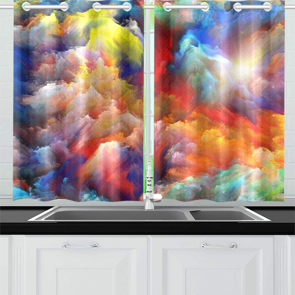 YUMOING Design Dreamy Forms Colors On Kitchen Curtains Window Curtain Tiers for Café, Bath, Laundry, Living Room Bedroom 26 X 39 Inch 2 Pieces