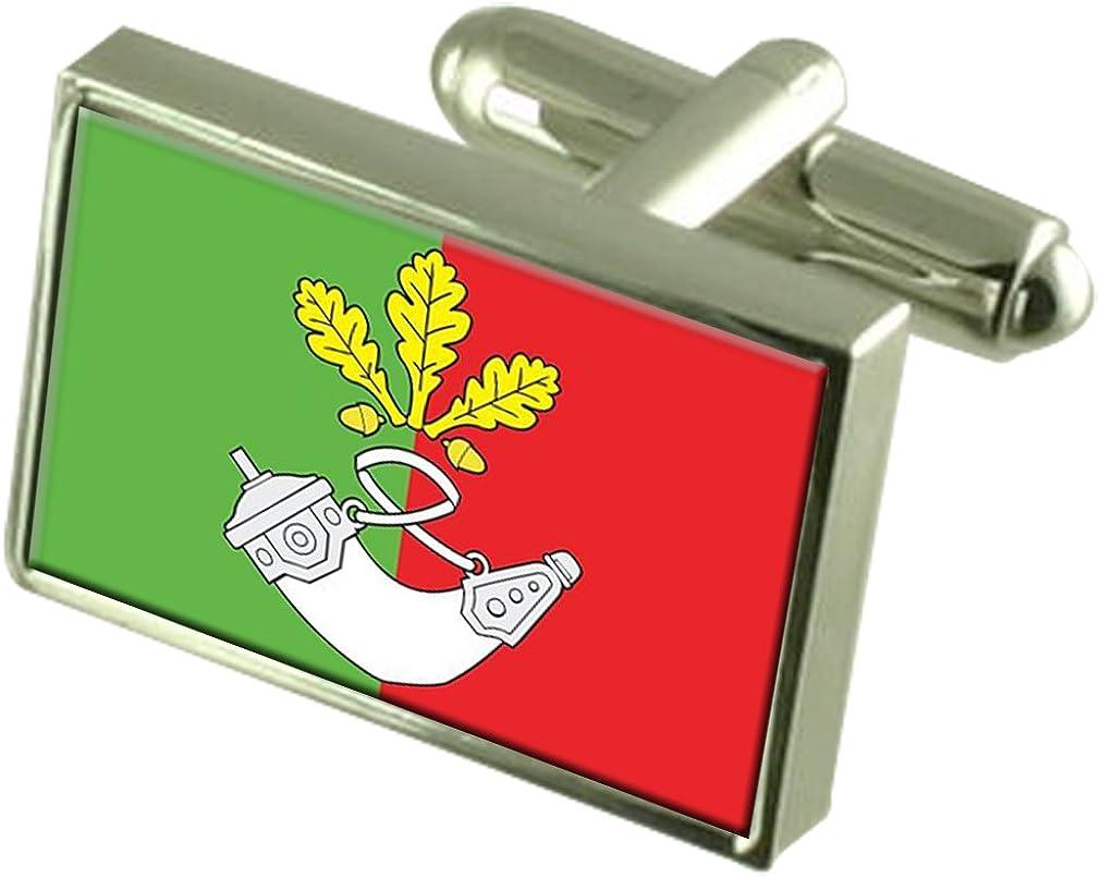 Kryvyi Rih City Ukraine Flag Cufflinks Engraved Box