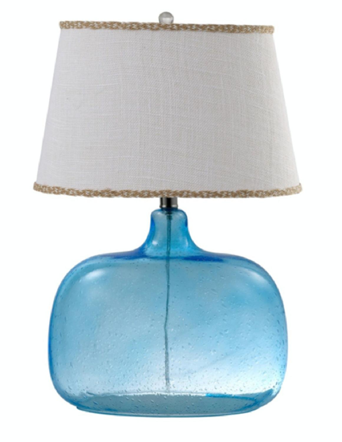 24'' Blue Spa Glass Table Lamp with Natural White Colored Round Burlap Shade