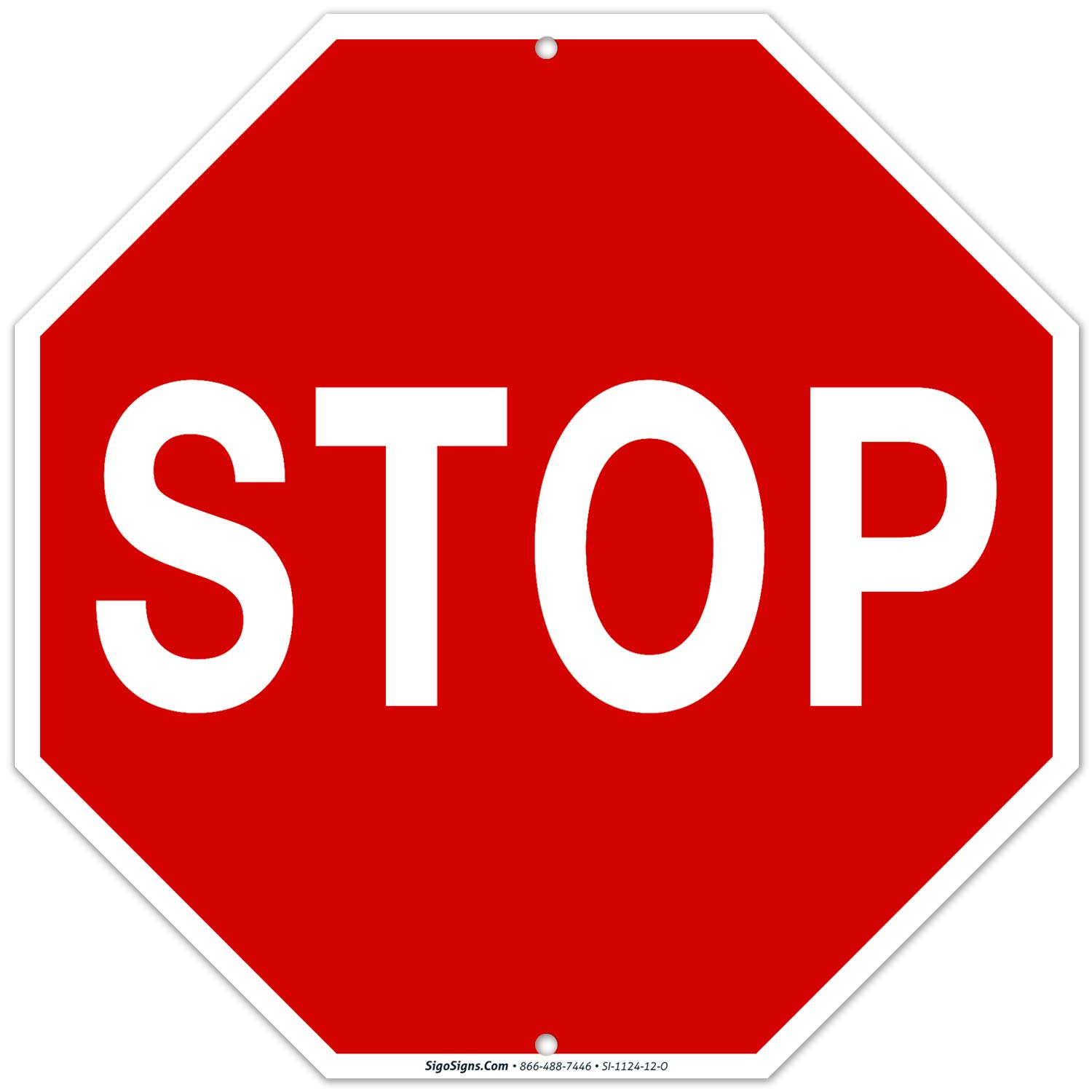 Stop Sign, Street Stop Sign, 12x12 Octagon Rust Free Aluminum,Weather/Fade Resistant, Easy Mounting, Indoor/Outdoor Use, Made in USA by SIGO SIGNS