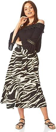 Concealed Zip Evening Straight Hanky Hem 50s Flare Flowy A-Line Lightweight Holiday Casual Cruise Summer Snakeskin Skirts Roman Originals Women Asymmetric Snake Print Skirt