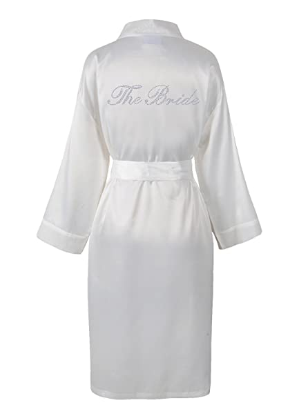 Varsany Ivory Rhinestone The Bride Satin Bridal Dressing Gown & Spa ...