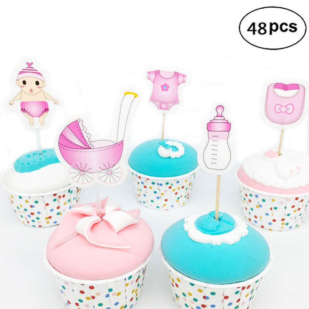 Cupcake Toppers for Girl Baby Shower, Pink Baby Shower Cute Cake Toppers Picks for Birthday Girls Party Decorations, It's a Girl Kids Party Cake Decorations Pink (48 pcs)
