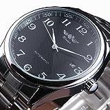 Winner Men Date automatic Mechanical Watch Self-Winding Skeleton Black Stainless Steel Strap Wrist Watch
