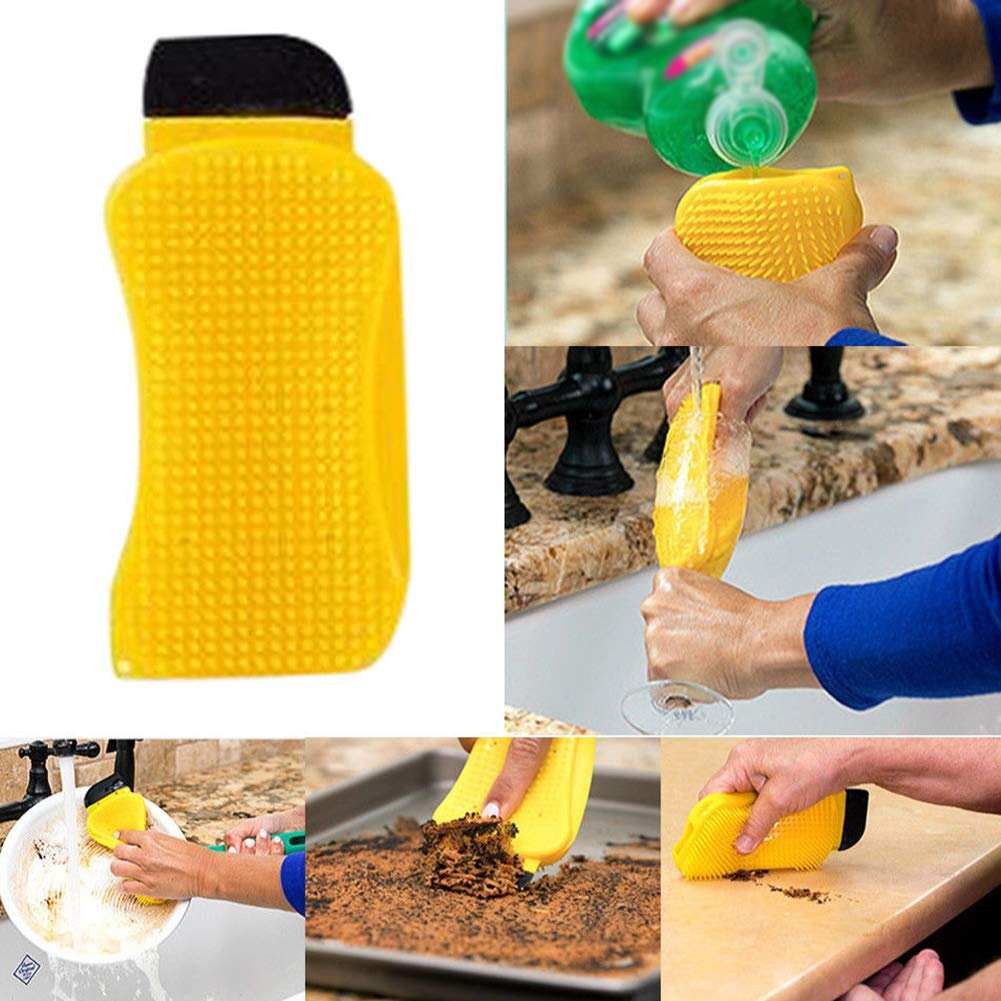 Silicone Cleaning Brush, 3 in 1 Multipurpose Cleaning Brush Sponge Scrubber Scraper - Built-in Soap Dispenser for Dish Washing Cleaning Pot Pan Fruit Washer Vegetable Cleaner