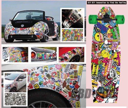 Autool 152,4/x 50,8/cm JDM Auto Adesivo Bomba Graffiti Cartoon per veicolo a motore per fai da te