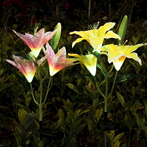 Solar Flower Lights Yunlights 2pcs Solar Garden Decorations Lights Outdoor Patio Stake Lights Lily Flower Lamp Multi Color Changing Yard Lawn Decoration Decor