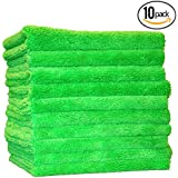"(10-Pack) THE RAG COMPANY 16"" x 16"" Professional Edgeless 420 GSM Dual-Pile Premium Plush Microfiber Auto Detailing Towels ""Creature Edgeless"" (Lime Green)"