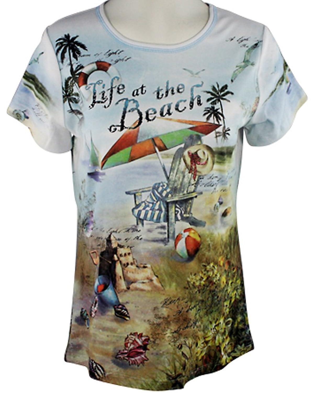 Cactus Fashion Women's Life At The Short Sleeve Scoop Neck Rhinestone Top