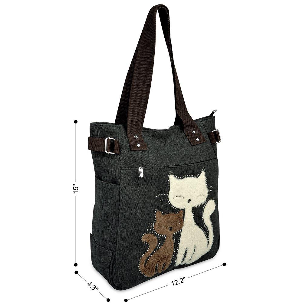 c9efec585f70e Vbiger Frauen Schultertasche Segeltuch Tasche Niedliche Katzen Tasche Damen  Schopper Ideal Geschenk für Damen größeres Bild