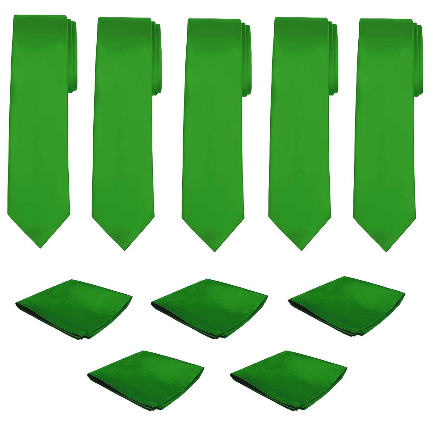 Mens Necktie Pocket Square 10 Pcs Set Solid Color Tie and Handkerchief for Wedding (Kelly Green)