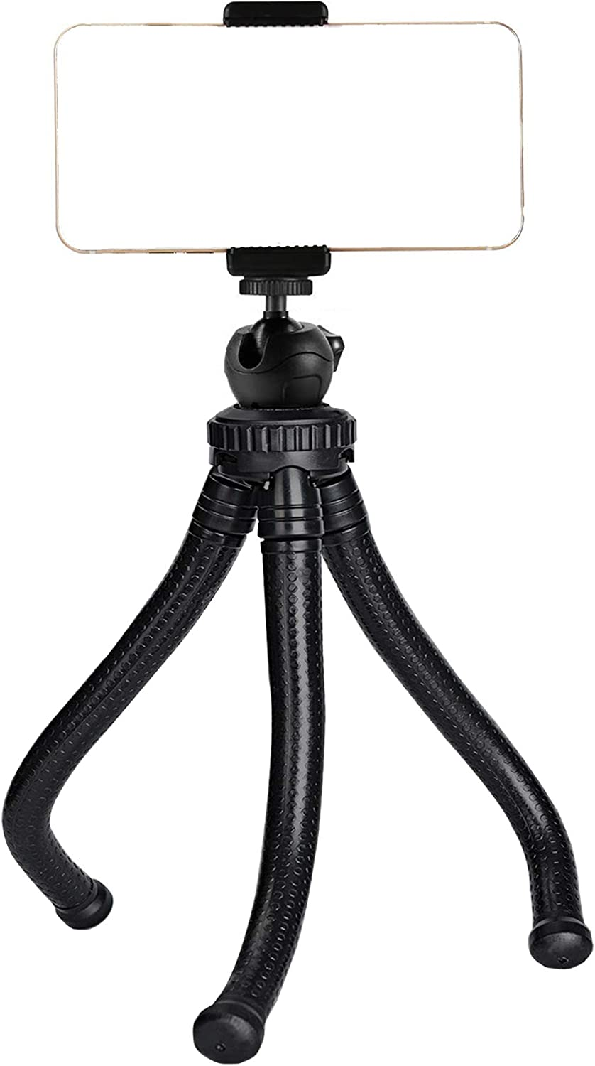 Ailun Phone Tripod Mount Stand Camera Holder for iPhone 11/11 Pro/11 Pro Max/Xs XR Xs Max 8 7 Plus 6s Digtal Camera Galaxy S10 S9 S8 Plus S7 S7 Edge Note 10,Camera and More Black