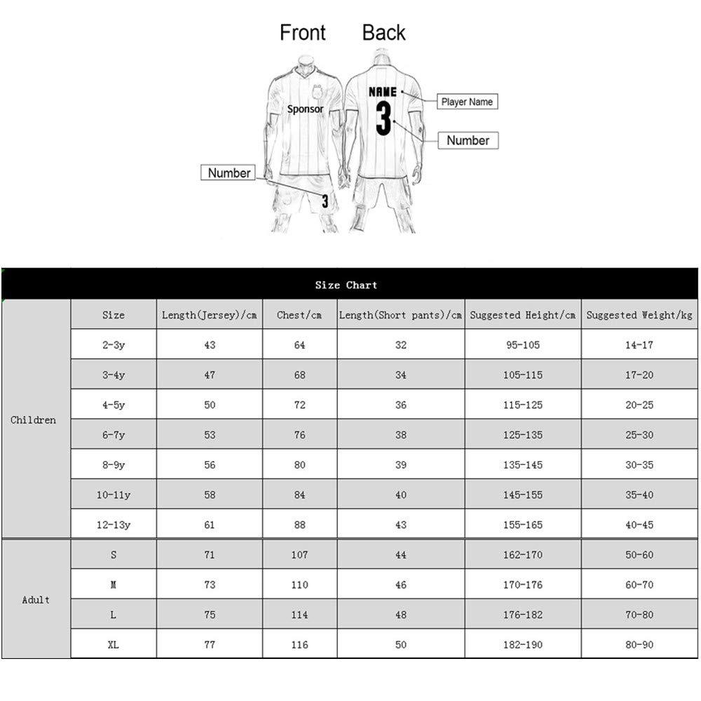 Fu/ßball-Trikot und Shorts Personalisierter Name und Nummer Personalisierte Fu/ßball-Kits f/ür Erwachsene Jugendjungen f/ür Kinder Heim /& Ausw/ärts Anpassen 2019-2020