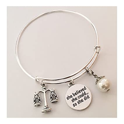 AnnaKJewels Lawyer Bangle, Justice Bangle, She Believed She Could So She  Did, Silver plated bangle, popular Bangle, Graduation gift