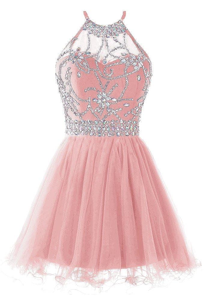 bluesh Musever Women's Halter Short Homecoming Dress Beading Tulle Prom Dress