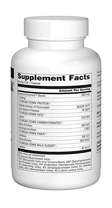 Amazon com: Source Naturals Essential Enzymes 500mg - 360 Count