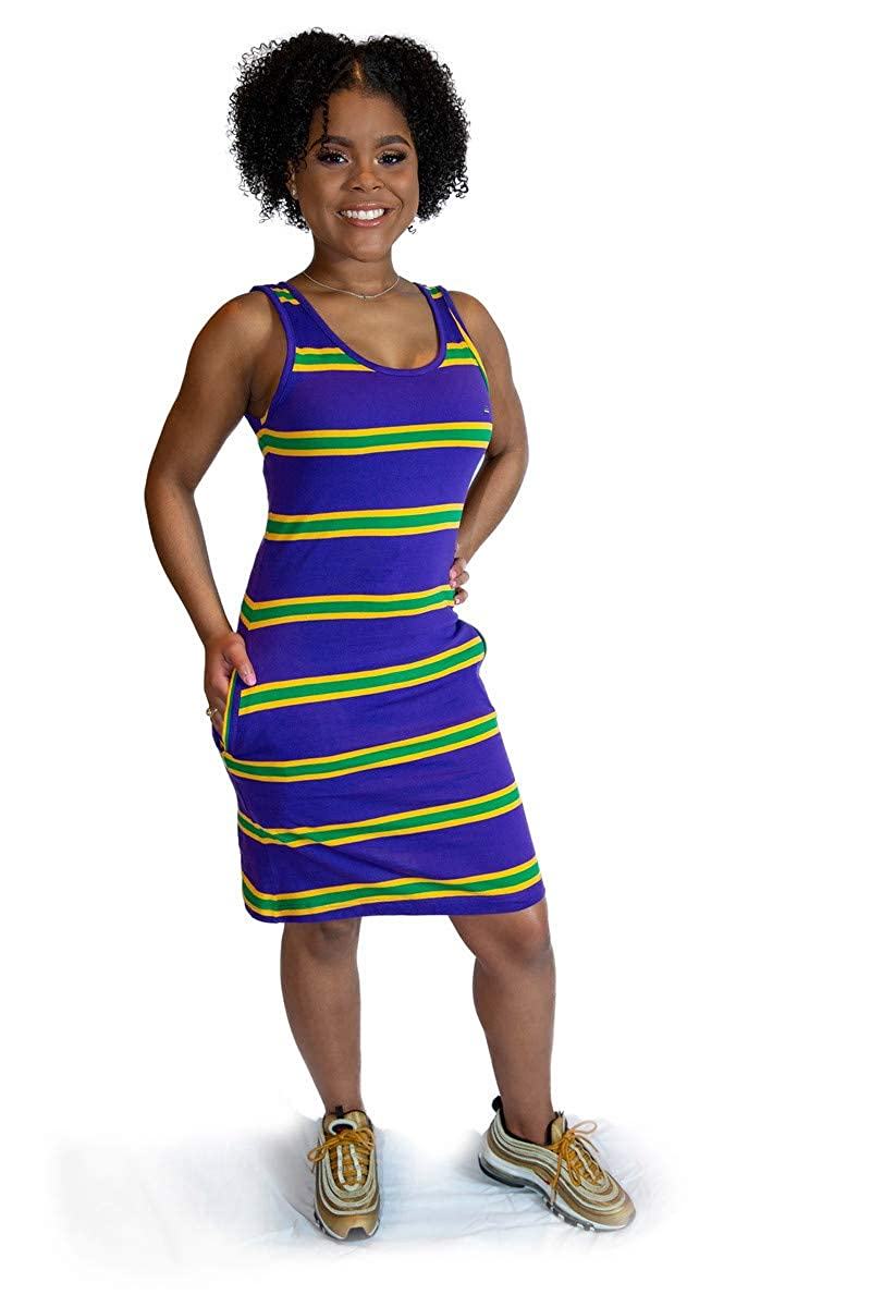 Poree's Embroidery Mardi Gras Rugby Striped Tank Dress