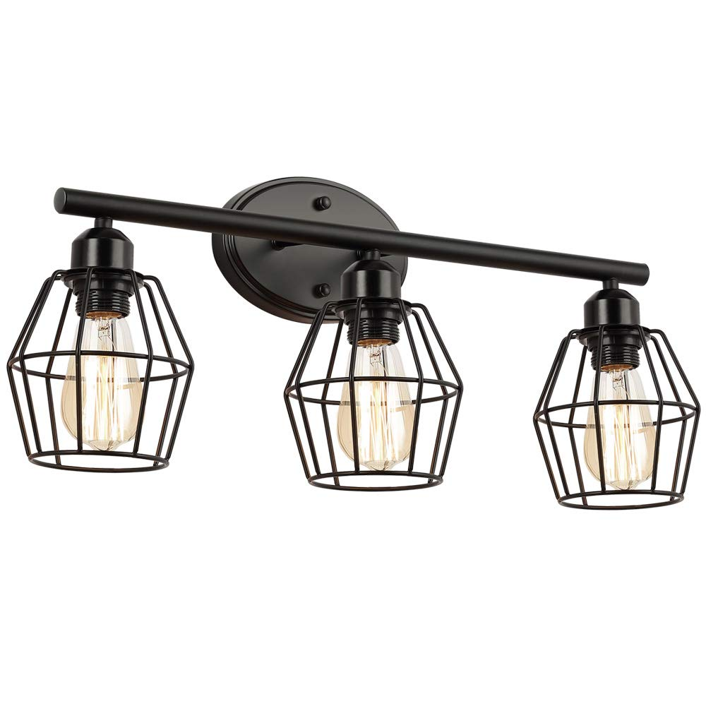 3-Light Industrial Bathroom Vanity Light,21 inch Black Metal Cage Wall Sconces Vintage Bathroom Lighting Fixture for Farmhouse, Mirror Cabinet, Vanity Table, Bathroom by LIUSUN LIULU