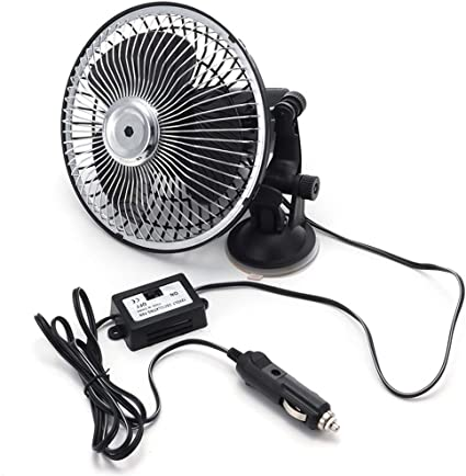 Ventilador Coche 8 pulgadas ventilador del coche 12V Vehículo Auto Fan del coche ventilador oscilante de enfriamiento de 25W Ventilador portátil para coche con cargador de coche: Amazon.es: Coche y moto